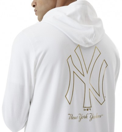 Hoodie Sudadera Capucha Casual_Hombre_New Era New York Yankees White
