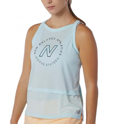 Camiseta Sin Mangas Running_Mujer_NEW BALANCE Printed Impact Run Hybrid Tank
