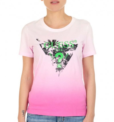 Camiseta M/c Casual_Mujer_GUESS Ss Cn Palms Tee
